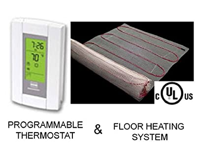 100 Sqft Mat, 240 Volt, Electric Radiant Floor Heat Heating System with Aube Digital Floor Sensing Thermostat