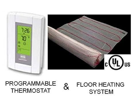 20 sqft mat electric radiant floor heat heating system with aube digital floor sensing thermostat