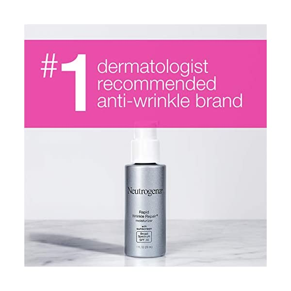 Neutrogena Rapid Wrinkle Repair Anti Ageing Day Moisturizer For Face With Retinol SPF 30, 29ml 2021 June Neutrogena Rapid Wrinkle Repair Moisturizer Broad Spectrum SPF 30 helps hydrate and protect your skin while treating the signs of aging A fast-acting moisturizer suitable for women and men, it visibly fades the look of stubborn wrinkles-including crow's feet and cheek wrinkles This anti-ageing face cream also helps smooth fine lines and texture and brightens and evens skin tone