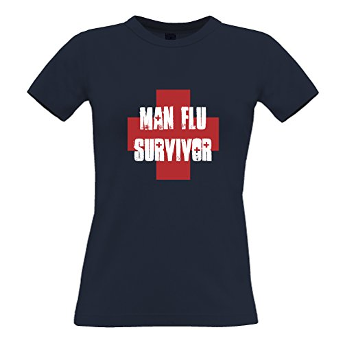 Tim and Ted Man Flu Survivor novità Graphic slogan stampato design divertente scherzo T-Shirt Da Donna