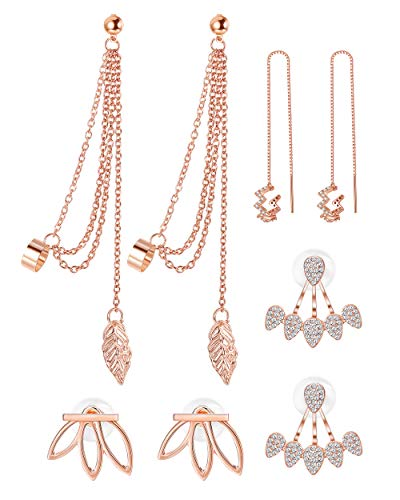 - Adramata 4 Pairs Lotus Flower Earrings for Women Girls Tassel Threader Dangle Earrings Set