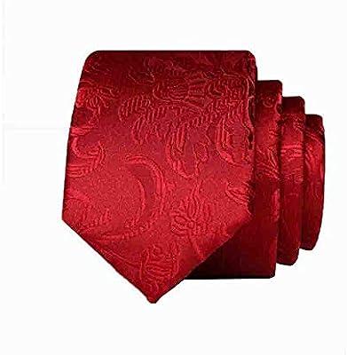 Hjyi Corbata de Vestir para Hombre, patrón de Corbata roja Simple ...