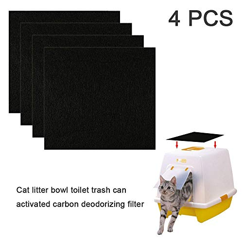 Hamkaw 4 Pcs Odor Control Replacement Filters for Cat Litter Box, Strongly Adsorbe Carbon Filter Cotton, Deodorization/Moisture Absorption/Keeps Air Fresh