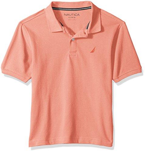 Nautica Boys' Big Solid Short Sleeve Stretch Polo, Peach, Large (14/16) (Peach Shirt For Boys)