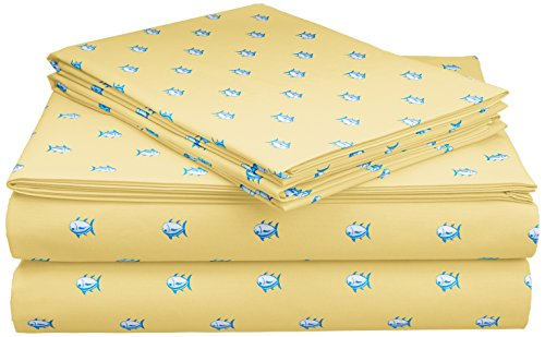 Southern Tide Printed Cotton Sheet, Queen, Skipjack Moonlight Yellow