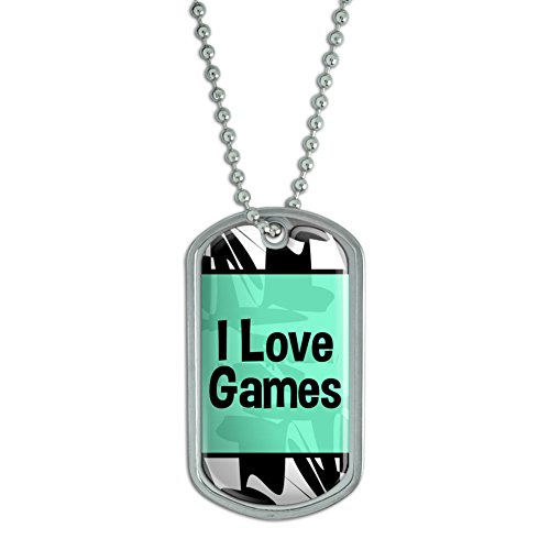 Dog Tag Pendant Necklace Chain I Love Heart Sports Hobbies Ed-Go – Games