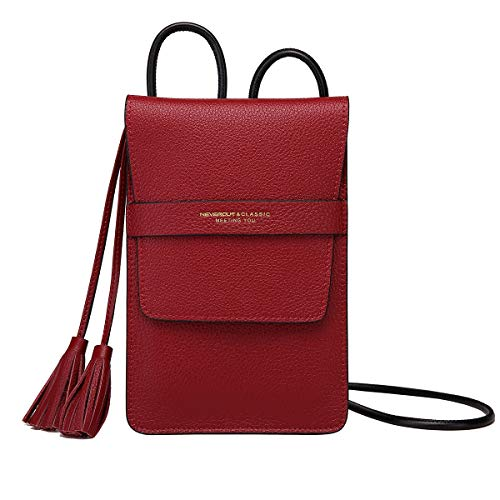 (NeverOut Women Soft Genuine Leather Cell Phone Crossbody Bag Purse Small with Tassel as Gift (NP2063) (Red-Big size))