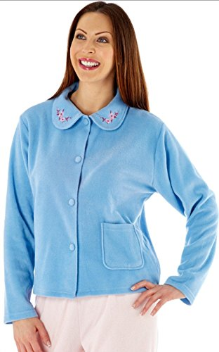 Lady Selena Soft Fleece Bed Jackets LN471 Blue (Embroidered Bed Jacket)