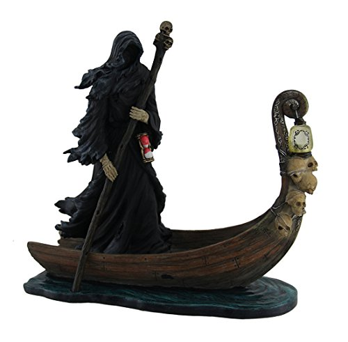 Veronese Resin Statues Charon Ferryman Of The Dead Propelling Boat Statue W/Led Lantern 10 X 10 X 4 Inches Black (Statue With Black Lantern)