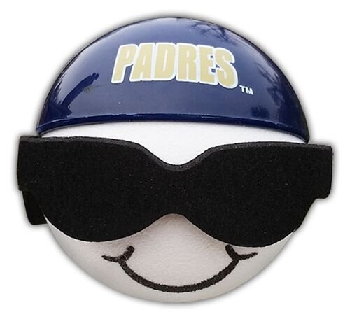 Padres Cool Backwards Baseball Hat Sunglasses Car Antenna Topper + Yellow Smiley Antenna Topper