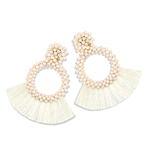 Statement Tassel Bead Earrings for Women, Drop Dangle Round Beaded Hoop Fringe Bohemian Earrings Women Girl Novelty Fashion Summer Accessories - E1 Cream White ()