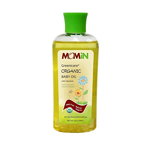 MOMiN USDA Organic Baby Oil, with Calendula Flower Petals, Super Gentle, Extra Soothing, 4 Fl. Oz by MOMiN