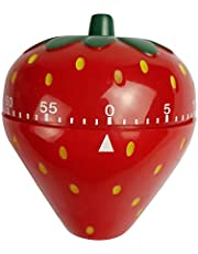 Spotact Novelty Cute 1-60min 360 Degree Rotating Tomato Strawberry Shape Timer, Mechanical Kitchen Ring Alarm Tool for Cooking Food Countdown Timer Clock (