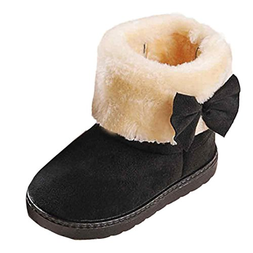 Baby Girls Bowknot Winter Snow Boots (Black) - 8