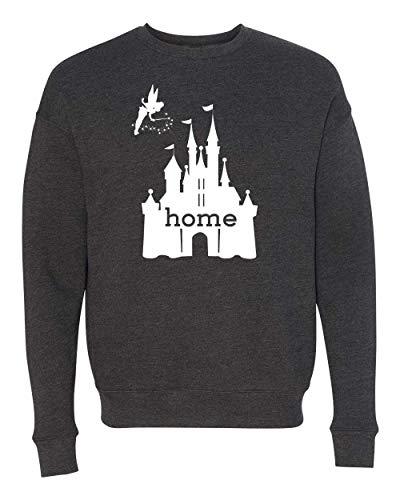 DisGear Disney Cinderella Castle is My Home Apparel for Women - Theme Park Tee (Medium, Dark Heather Grey Fleece Crew) ()