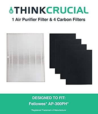 Think Crucial HF-300 Fellowes HEPA Style Filter & 4 Carbon Filters Fit AP-300PH Air Purifier