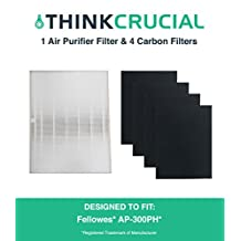 1 Fellowes HEPA Air Purifier Filter & 4 Carbon Filters Fit Fellowes AP-300PH Air Purifier, Compare to Part # HF-300, Designed & Engineered by Crucial Air