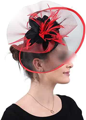 f3a20458 Elegant Bridal Wedding Veils Hats Fascinators Black and Red Church Hair  Clips Cocktail Feathers Hair Accessories