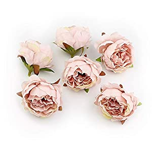 Peony Fake Flower Heads in Bulk Wholesale for Crafts Silk Flower Head Silk Artificial Flowers for Wedding Decoration DIY Decorative Wreath Party Festival Home Decor 15 Pieces 5cm (Champagne)