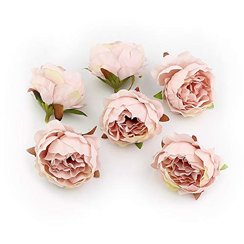 (Peony Fake Flower Heads in Bulk Wholesale for Crafts Silk Flower Head Silk Artificial Flowers for Wedding Decoration DIY Decorative Wreath Party Festival Home Decor 15 Pieces 5cm (Champagne))