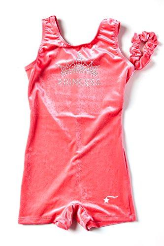 DESTIRA Pink Velvet with Crystals Unitard for Girls Gymnastics, Child M / 8-10 (Velvet Biketard)