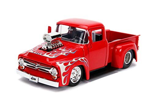 (Jada 1956 Ford F-100 Pickup Truck with Blower Glossy Red with Flames Just Trucks Series 1/24 Diecast Model Car 30715)