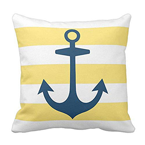 Emvency Throw Pillow Cover House Navy Blue Anchor with Yellow Nautical Modern Decorative Pillow Case Home Decor Square 18 x 18 Inch ()