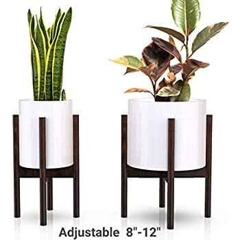 declutterd Plant Stand Adjustable Mid Century Indoor Plant Holder for House Plants, Home Decor - Wood - Fits Planter 8 to 12 Inches - Excludes Plant Pot (Dark Brown 1-Pack)