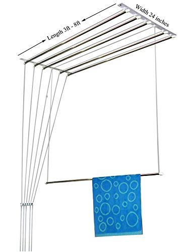 RAINBOW DRYWELL 6 Pipes Luxury Stainless Steel Cloth Dryer (8 Feet, Silver and Black)