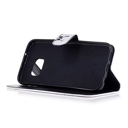 TOCASO Funda de Cuero Samsung Galaxy A5 (2016) A510 Cuero Funda Piel para con Tapa Samsung Galaxy A5 (2016) A510 [Garantía de por vida] Soporte Plegable Ranuras para Tarjetas y Billetes Estilo Libro C Perro payaso
