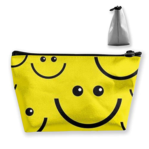 Smiley Face Makeup Bag - Women Cosmetic Bag Multifuncition Storage Bag Holder with Zipper -