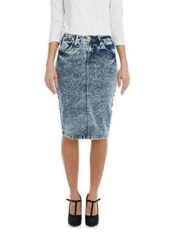 Esteez Jean Skirt for Women Powerstretch Denim Miami Bleach Blue - Denim Bleach