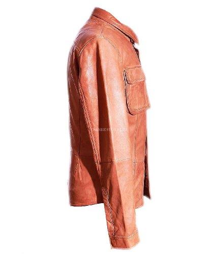 Stile Cerato Tan Casual Daniel Vera Camicia Da Uomo Cuoio Pecora Giacca Retro Elegante vHqpazqw