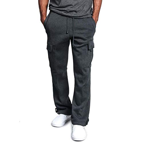 (iYBUIA Men's Solid Cotton Fleece Heavyweight Cargo Pants with Pocket Dark Gray)