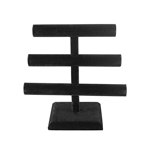 Super Z Outlet Black Velvet Level T-Bar Bracelet Necklace Jewelry Display Stand for Home Organization by Super Z Outlet (Image #2)