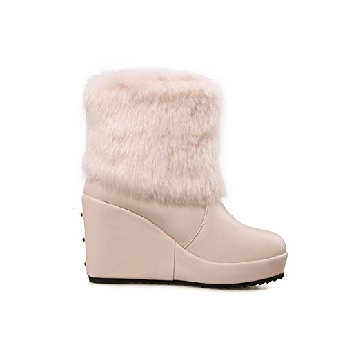 High Closed Round Heels on top Solid Boots Low Pull Women's Pink Toe AgooLar qHp6zz