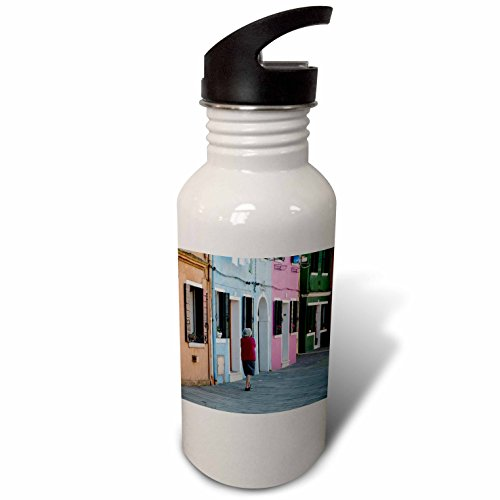 3Drose Danita Delimont   Burano   Colorful Buildings With Elderly Lady Taking A Walk  Burano  Italy   Flip Straw 21Oz Water Bottle  Wb 249277 2