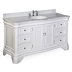 Kitchen Bath Collection KBC-A601WTCARR Katherine Single Sink Bathroom Vanity with Marble Countertop, Cabinet with Soft Close Function and Undermount Ceramic Sink, Carrara/White, 60″