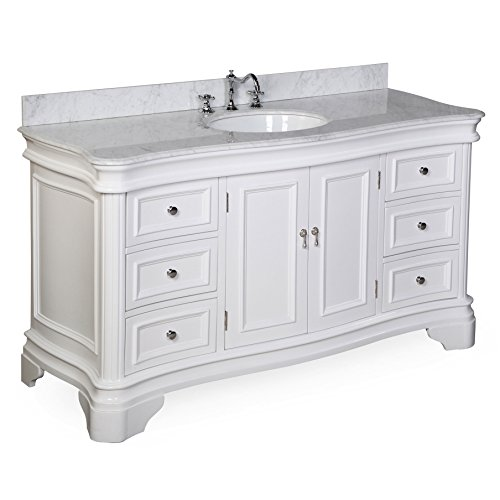 Kitchen Bath Collection KBC-A601WTCARR Katherine Single Sink Bathroom Vanity with Marble Countertop, Cabinet with Soft Close Function and Undermount Ceramic Sink, Carrara/White, 60