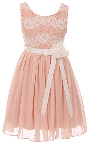 Big Girls' Sleeveless Floral Lace Chiffon Holiday Party Flower Girl Dress USA Blush 8 (J21KS34)