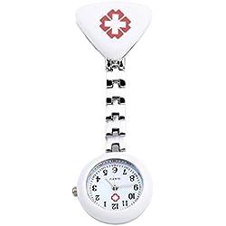 Top Plaza Cross Nurse Fob Clip On Brooch Hanging Pocket Watch-White