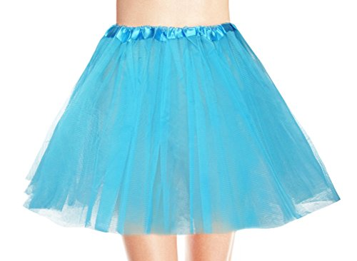 Women's, Teen, Adult Classic Elastic 3, 4, 5 Layered Tulle Tutu Skirt (One Size, LightBlue 3Layer) ()