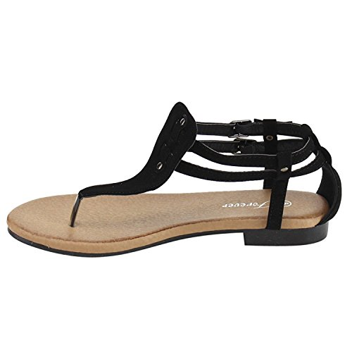DEV Womens T-Strap Perah-06 Gladiator Flat Slingback Beach Sandal Shoes Black Nub UhUDF