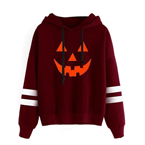 Halloween Mujer Víspera de Todos los Santos Ropa - Vovotrade Impresión Calabaza Cara Manga larga Capucha Camisa de entrenamiento Saltador Encapuchado Pull-over Camisa Blusa Rojo