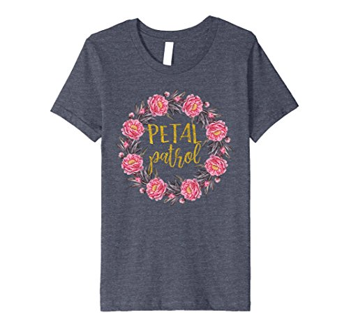 Flower Child Outfit (Kids Petal Patrol T-shirt Kids Flower Girl Outfit Gift Boho 10 Heather Blue)