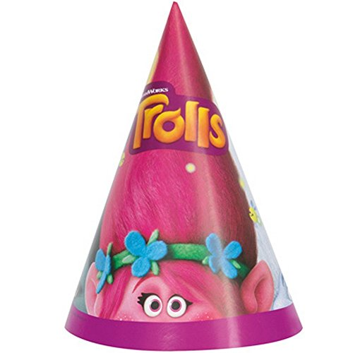 2 Packs of 8 Unique Trolls Loot Bags and 2 Packs of 8 Unique Trolls Party Hats bundled by Maven Gifts