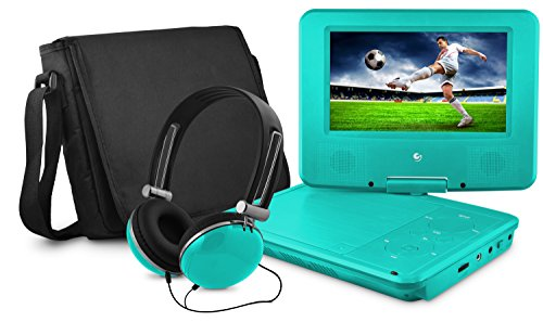 Ematic Personal DVD Player with 7-Inch Swivel Screen, Headphones, Carrying Case, Teal