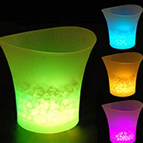 Eleganter, beleuchteter LED-Eiseimer mit 5 l Fassungsvermögen, rund, für Champagner, Getränke, Bier, Eiskühler für KTV Party Bar Weißes Licht