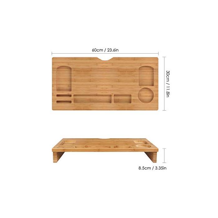 41NHel08KnL Material de bambú natural - Está fabricado de bambú natural, es sólido y duradero, fácil de limpiar. Gracias al material de bambú, dispone de la prolongada vida útil del producto, la buena estabilidad y calidad. La altura es 8.5 cm, es perfecto para los ojos para ver la pantalla Almacenamiento perfecto - En la bandeja hay 7 diferentes compartimientos para guardar las pequeñas cosas como teléfono, taza, grapadora, bolígrafos, etc.