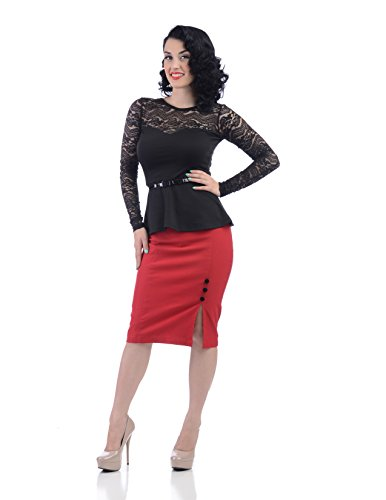 Elegant-Office-Lady-Black-Midnight-Rose-Sheer-Lace-Long-Sleeve-Peplum-Top